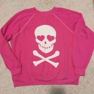 Wildfox pink skull sweatshirt